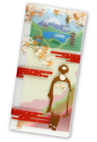 A clear case (ticket holder) featuring a Japanese illustration